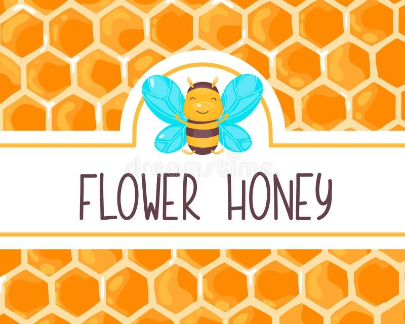 Etichetta sveglia del miele con l'ape sorridente felice per il barattolo dell'alimento Insegna del favo Fumetto di vettore piano illustrazione di stock