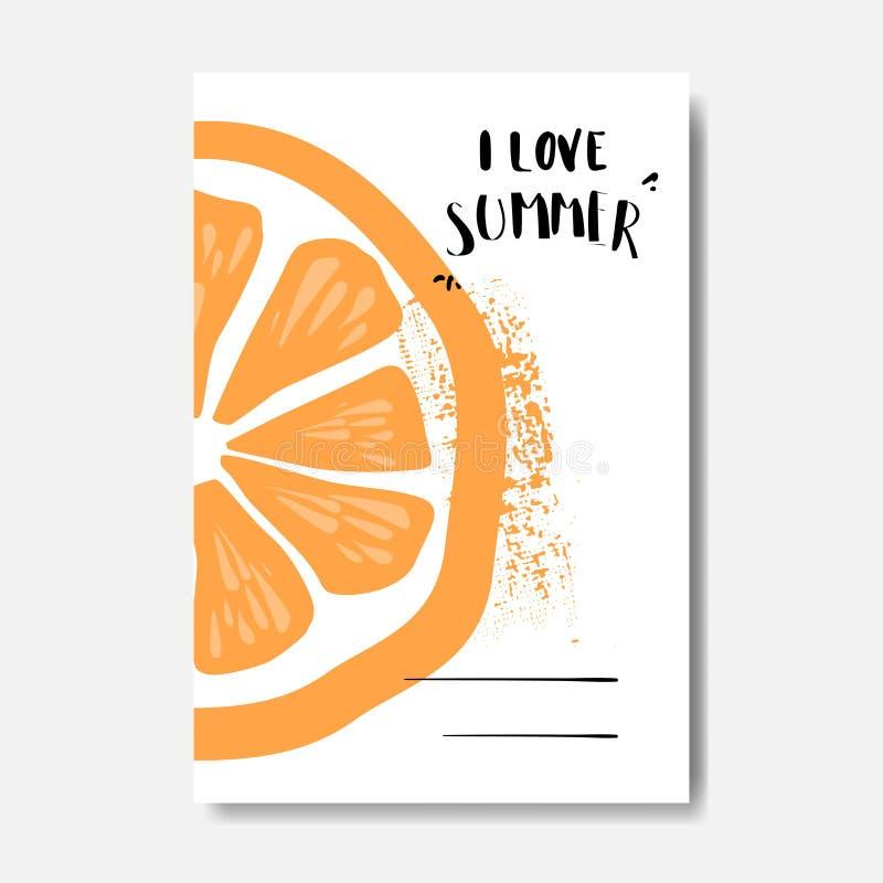 Etichetta tipografica di progettazione isolata distintivo arancio di amore di estate Condisca le feste che segnano per il logo, i royalty illustrazione gratis