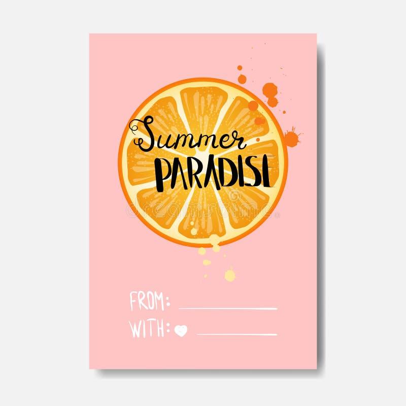Etichetta tipografica di progettazione isolata distintivo arancio di paradiso di estate Condisca le feste che segnano per il logo royalty illustrazione gratis