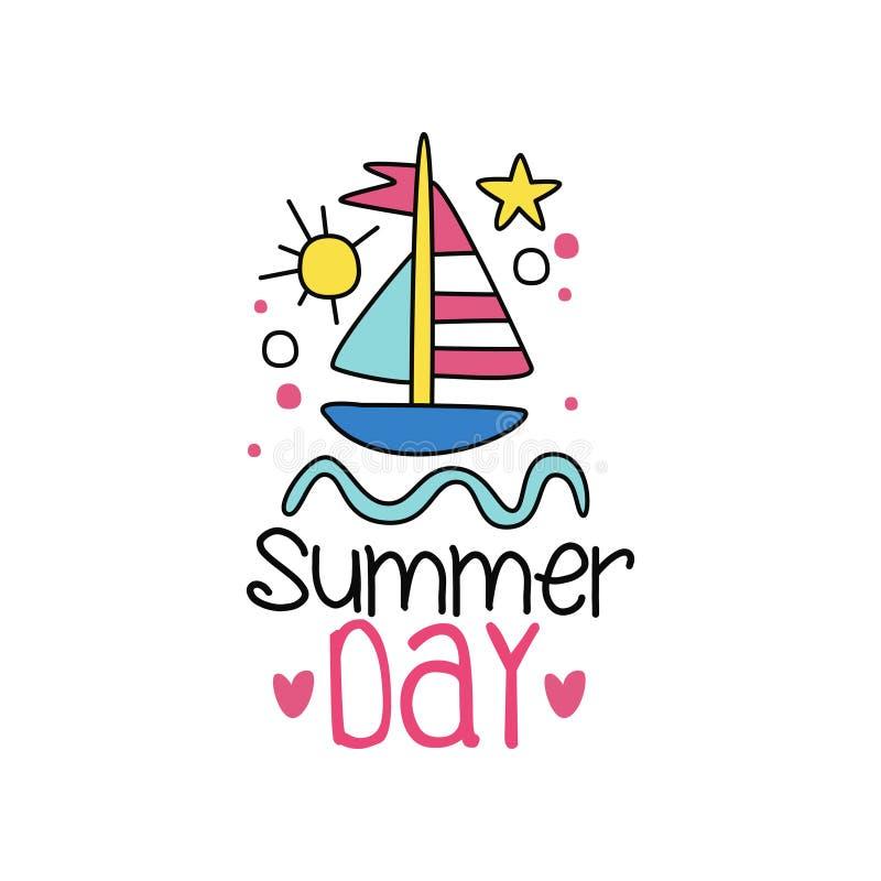 Etichetta variopinta con la barca sulle onde Viaggio per mare Logo nello stile del profilo Bambini che disegnano stile Illustrazi illustrazione vettoriale