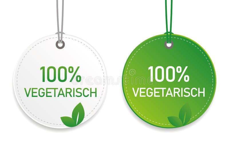 Etichetta vegetariana dell'alimento biologico di tipografia ed etichetta verdi ed elementi bianchi di progettazione isolati su un royalty illustrazione gratis