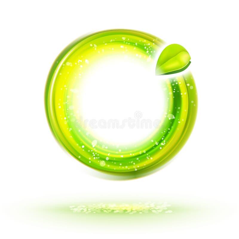 Etichetta verde astratta del cerchio di energia illustrazione di stock