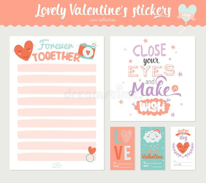 Etichette, autoadesivi ed etichette del regalo di giorno di biglietti di S. Valentino illustrazione di stock