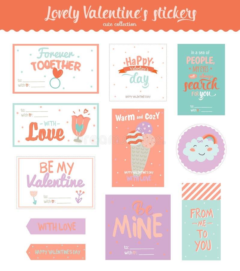 Etichette, autoadesivi ed etichette del regalo di giorno di biglietti di S. Valentino illustrazione vettoriale