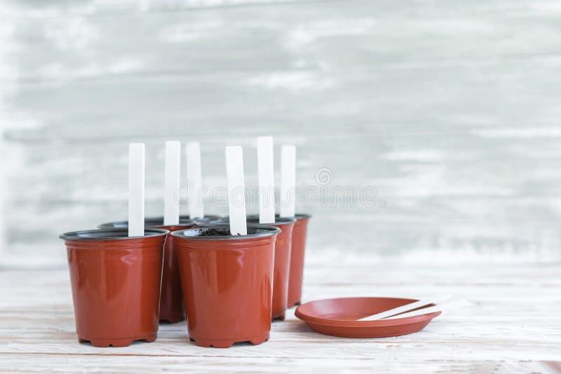 Etichette bianche in vasi marroni su fondo di legno bianco immagini stock