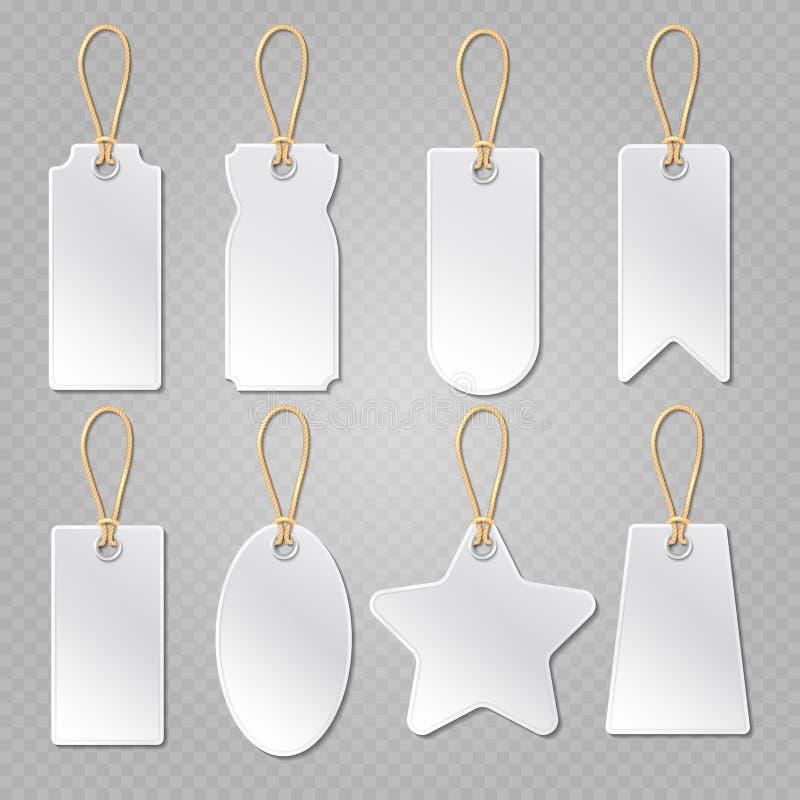 Etichette in bianco del bagaglio, etichetta bianca dei bagagli, insieme di vettore dei prezzi da pagare dei vestiti illustrazione vettoriale