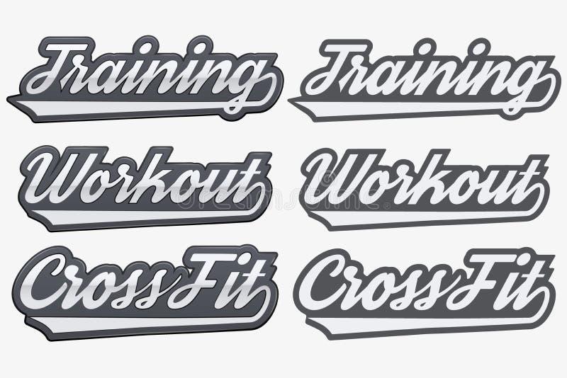 Etichette che preparano allenamento CrossFit nello stile di sport illustrazione di stock