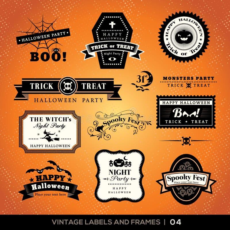 Etichette d'annata e strutture di Halloween royalty illustrazione gratis
