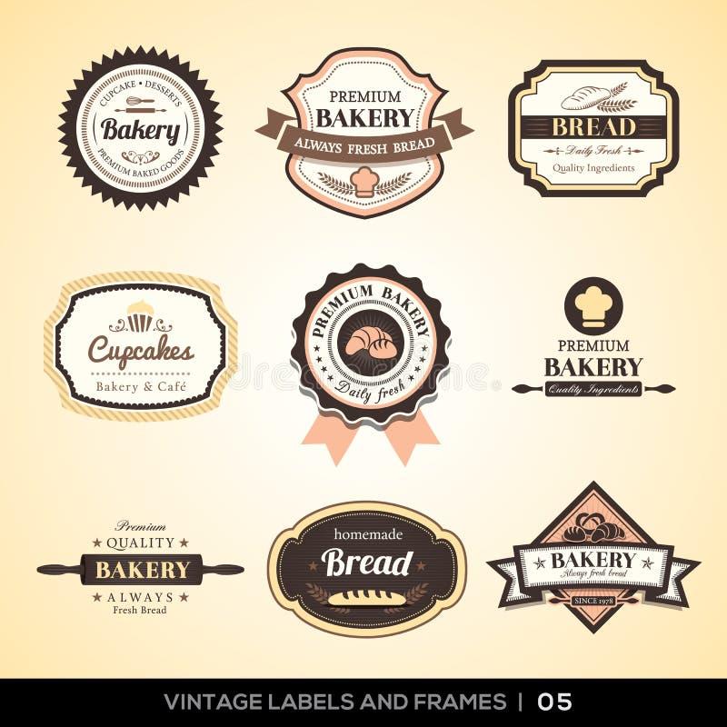 Etichette d'annata e strutture di logo del forno illustrazione di stock
