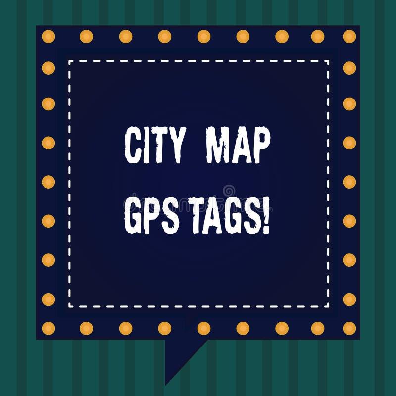 Etichette dei Gps della mappa della città del testo della scrittura Posizione del sistema di posizionamento globale di significat illustrazione vettoriale