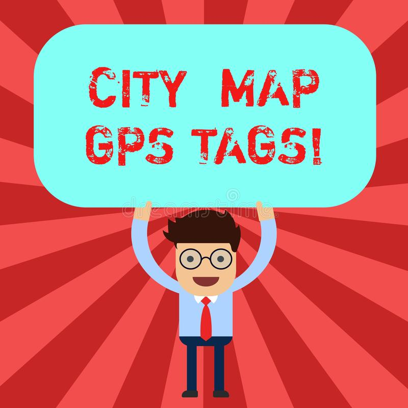 Etichette dei Gps della mappa della città del testo della scrittura Posizione del sistema di posizionamento globale di significat illustrazione di stock