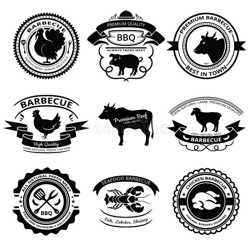 Etichette del BBQ immagine stock