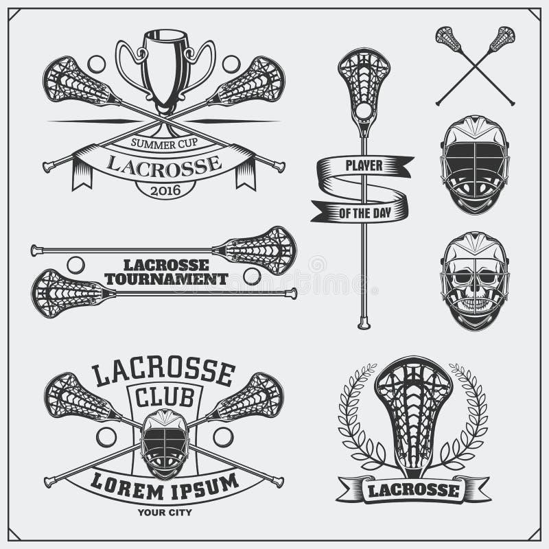 Etichette del club di lacrosse, emblemi ed elementi di progettazione fotografia stock