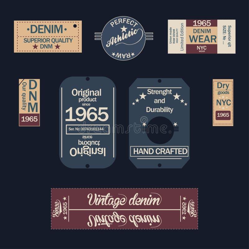 Etichette del denim su fondo scuro illustrazione vettoriale