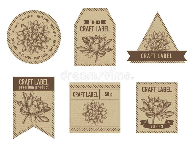 Etichette del mestiere con loto illustrazione vettoriale