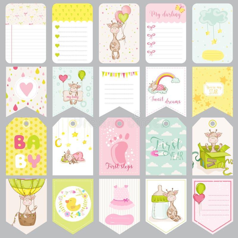 Etichette del neonato Insegne del bambino Etichette dell'album per ritagli royalty illustrazione gratis