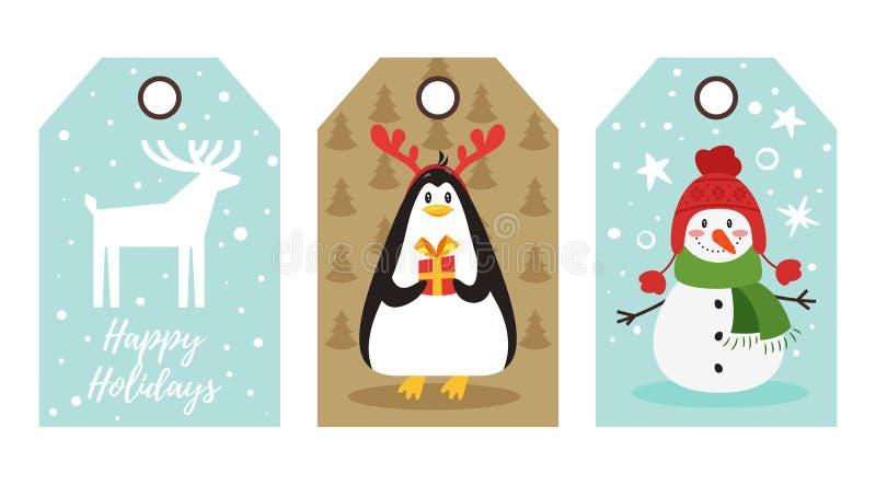 Etichette del nuovo anno e di Natale illustrazione di stock