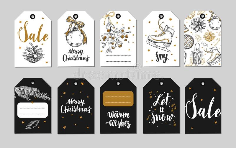 Etichette del nuovo anno e di Natale, etichette del regalo ed icone Decorazione di feste Illustrazioni disegnate a mano di vettor royalty illustrazione gratis