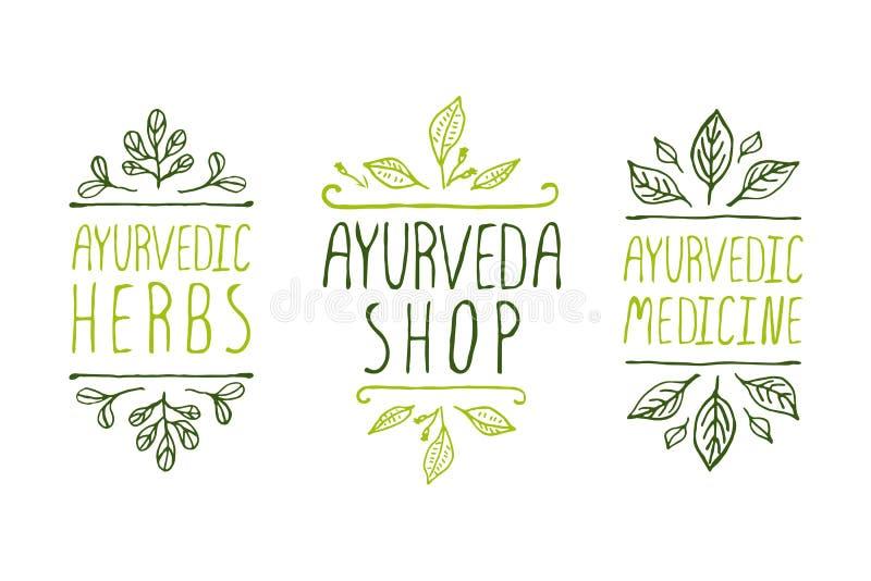 Etichette del prodotto di Ayurveda illustrazione vettoriale