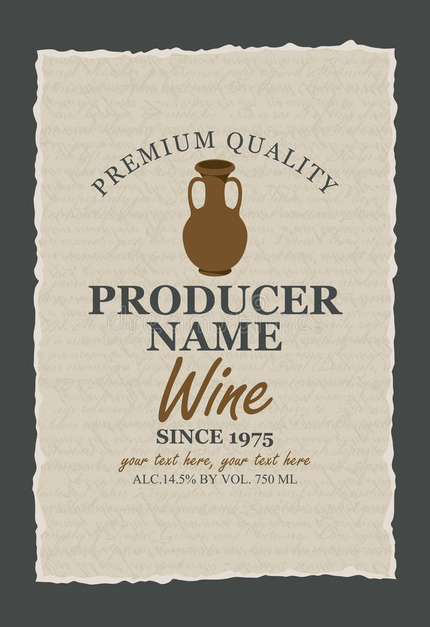 Etichette del vino con una brocca dell'argilla royalty illustrazione gratis