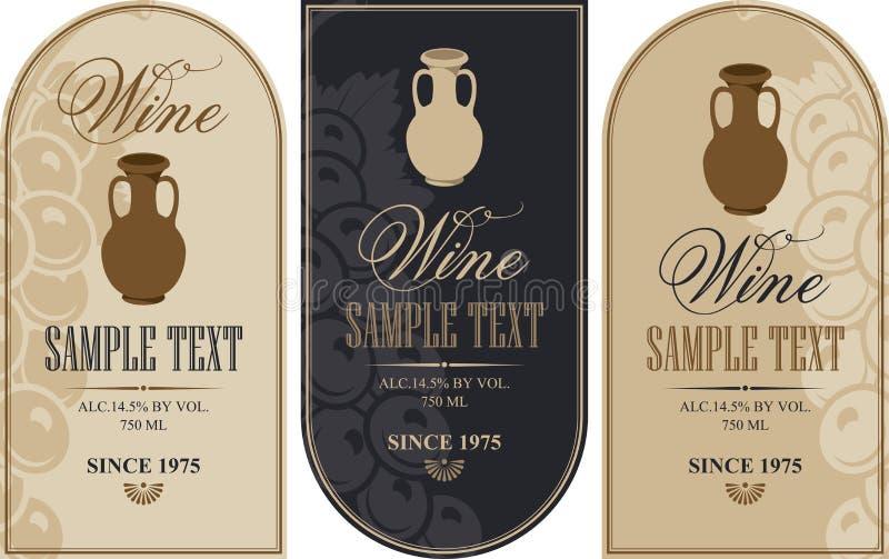 Etichette del vino con una brocca dell'argilla illustrazione di stock