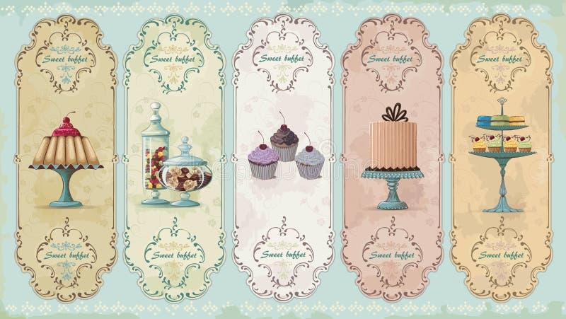 Etichette dell'annata con i dolci illustrazione vettoriale