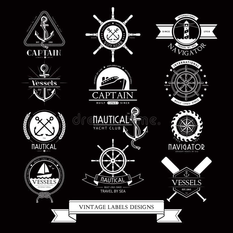 Etichette dell'annata delle navi, icone ed elementi nautici di progettazione illustrazione di stock