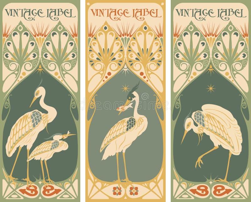 Etichette dell'annata: pesce e pollame - struttura di stile Liberty royalty illustrazione gratis