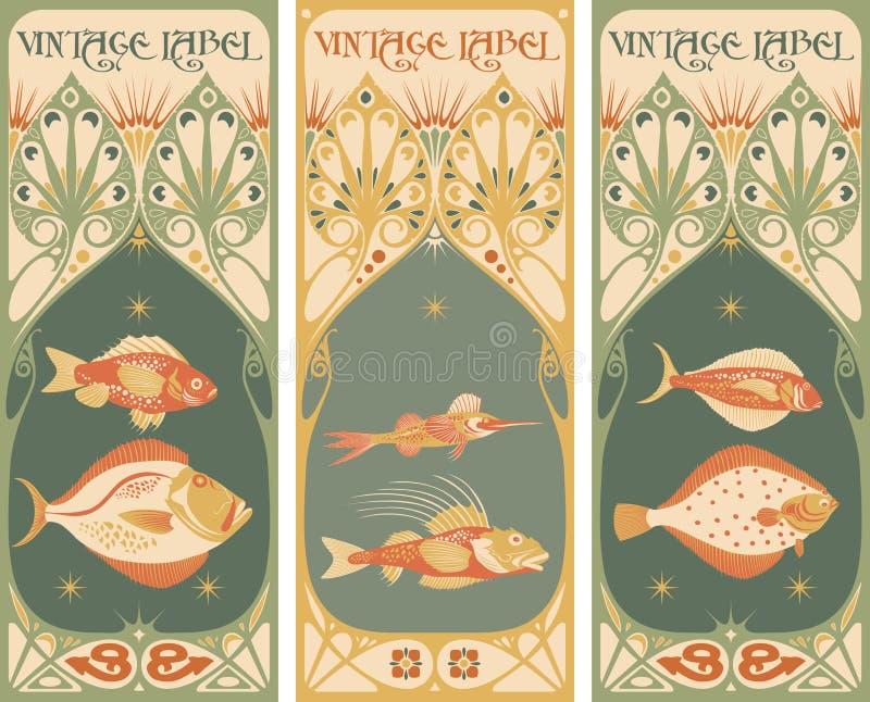 Etichette dell'annata: pesce - struttura di stile Liberty illustrazione vettoriale