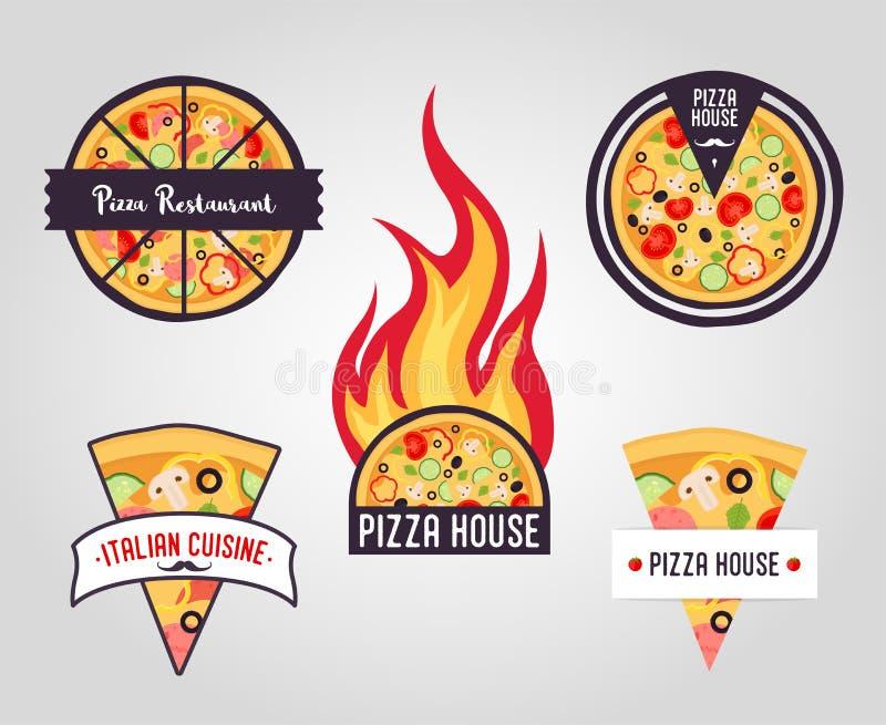 Etichette della pizza di vettore logos, icone fotografie stock libere da diritti
