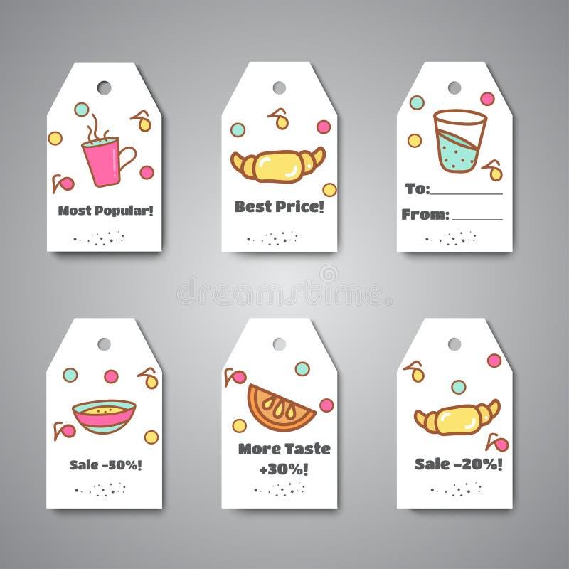 Etichette della prima colazione ed appendere per il caffè, barra, forno Caffè e pausa tè Etichette e vendita di vettore illustrazione di stock