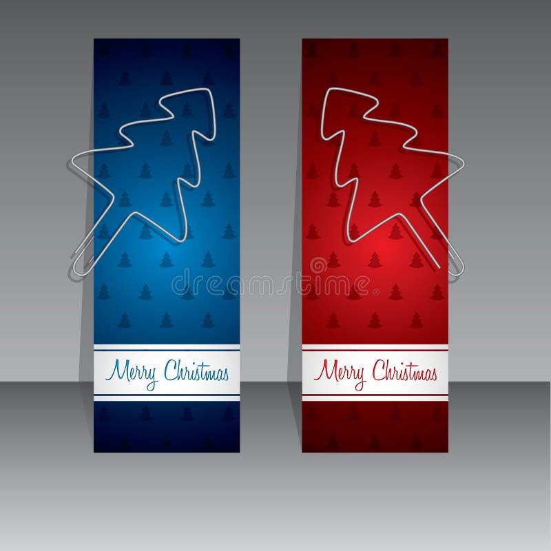 Etichette di compera di Natale con gli alberi di Natale della clip del raccoglitore illustrazione di stock