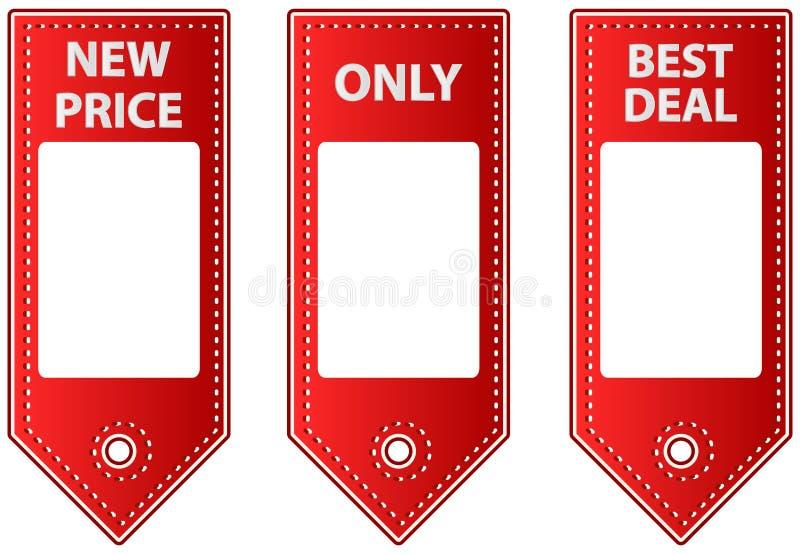 Etichette di cuoio rosse di vendita con le etichette dello spazio in bianco per il prezzo illustrazione vettoriale