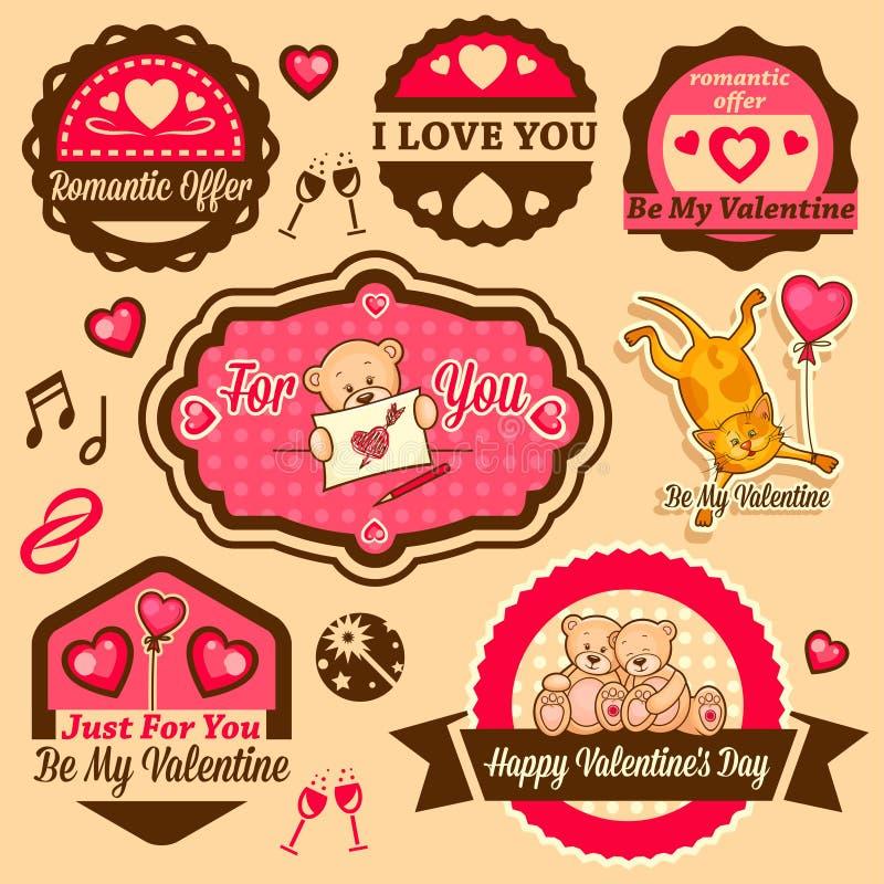 Etichette di giorno del ` s del biglietto di S. Valentino illustrazione vettoriale
