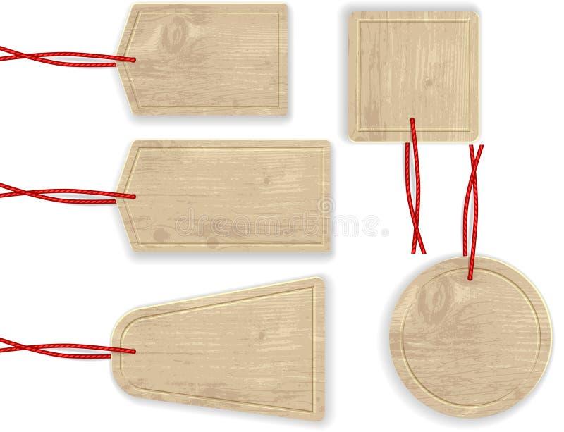 Etichette di legno con la corda rossa immagine stock