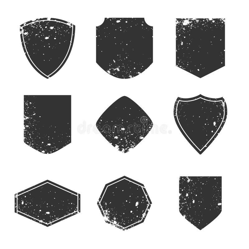 Etichette di lerciume ed elementi di progettazione, confini e concetto delle strutture, vecchi distintivi d'annata royalty illustrazione gratis