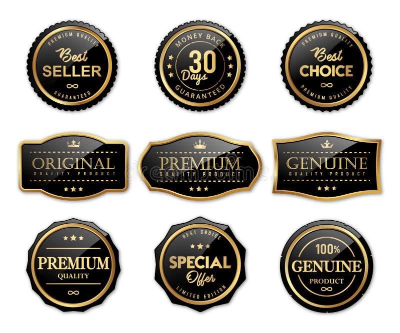 Etichette di marchio di lusso e prodotto di qualità premio illustrazione vettoriale