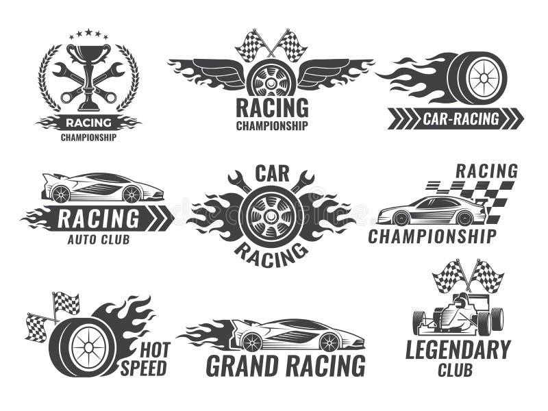 Etichette di monocromio e distintivi delle etichette di sport Vetture da corsa illustrazione vettoriale