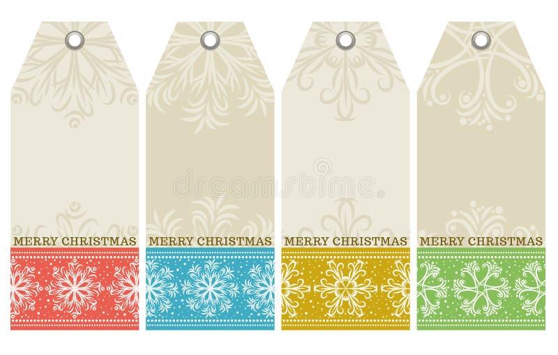 Etichette di Natale con il testo di desideri e dei fiocchi di neve,  royalty illustrazione gratis