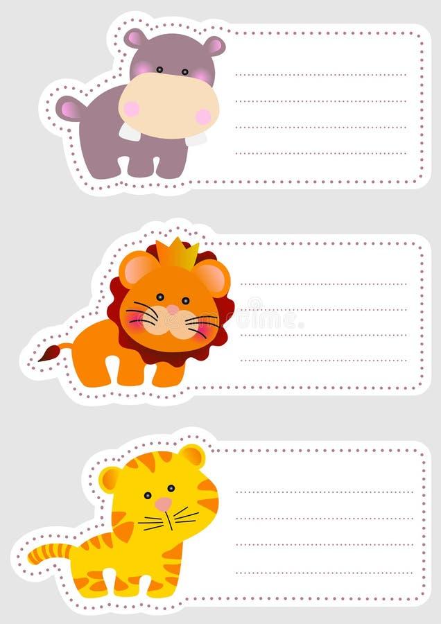Etichette di nome dei bambini con gli animali svegli illustrazione vettoriale