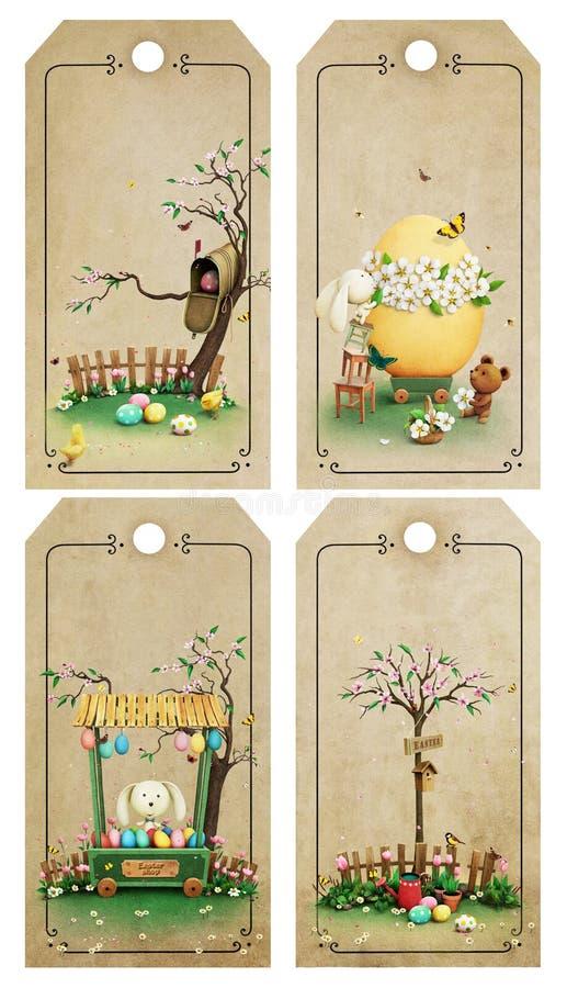 Etichette di Pasqua illustrazione di stock
