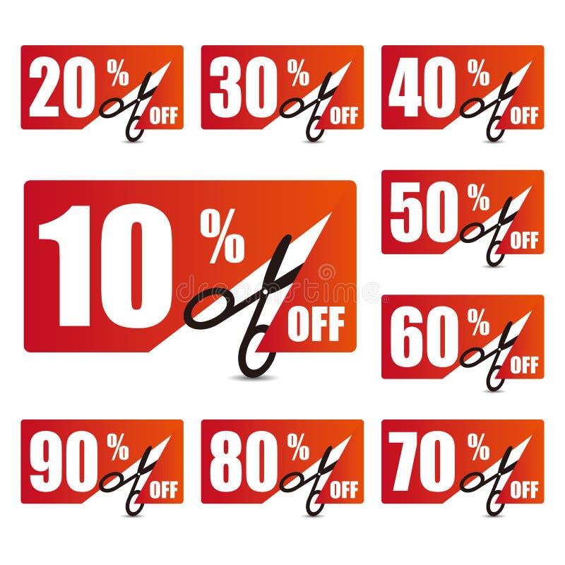 Etichette di prezzo di sconto illustrazione di stock