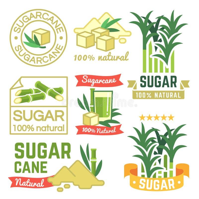 Etichette di produzione di zucchero, distintivi dell'azienda agricola della canna da zucchero ed insieme di vettore degli emblemi illustrazione vettoriale