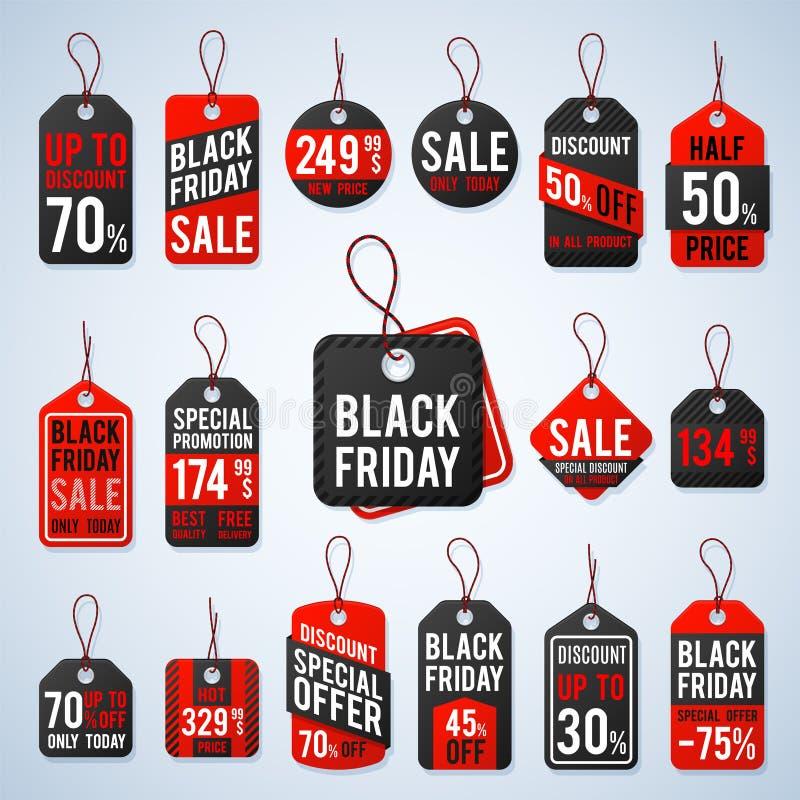 Etichette di valutazione di venerdì ed etichette nere di promozione con i prezzi economici e le migliori offerte Segno al minuto  royalty illustrazione gratis