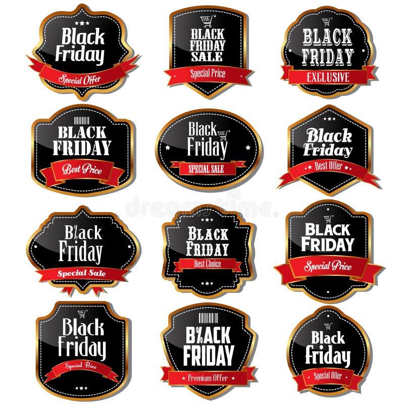 Etichette di vendita di Black Friday illustrazione di stock