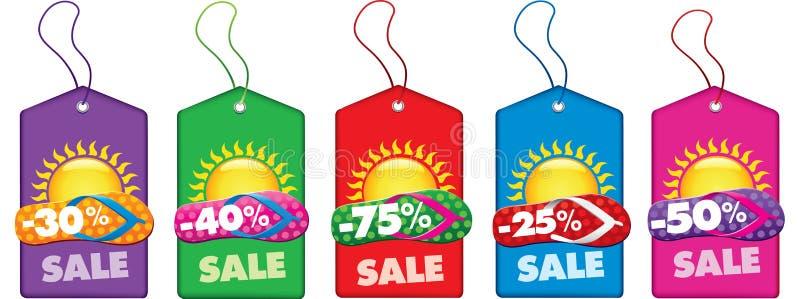 Etichette di vendita di estate con la vibrazione ed il sole della spiaggia illustrazione vettoriale