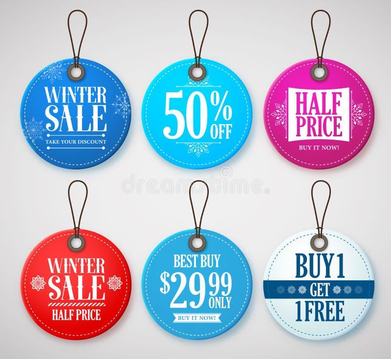 Etichette di vendita di inverno messe per le promozioni del deposito di stagione con le etichette royalty illustrazione gratis