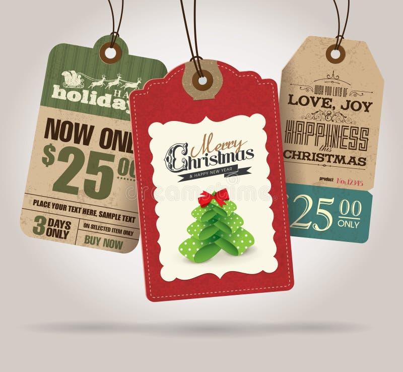 Etichette di vendita di Natale illustrazione vettoriale