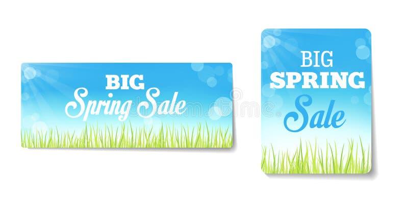 Etichette di vendite della primavera illustrazione vettoriale