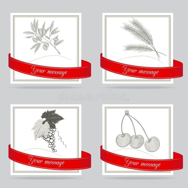 Etichette disegnate a mano royalty illustrazione gratis